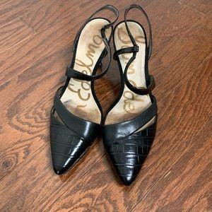 Sam Edelman Black Leather Pointed Toe Heels 7